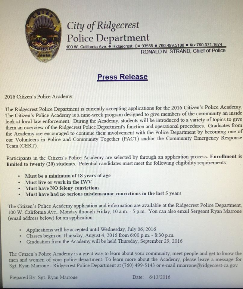 2016 Citizen's Police Academy Accepting Applications